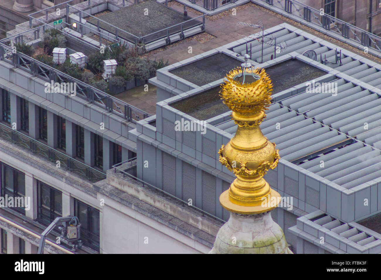 Oben auf dem Denkmal für den großen Brand in London. Stockbild