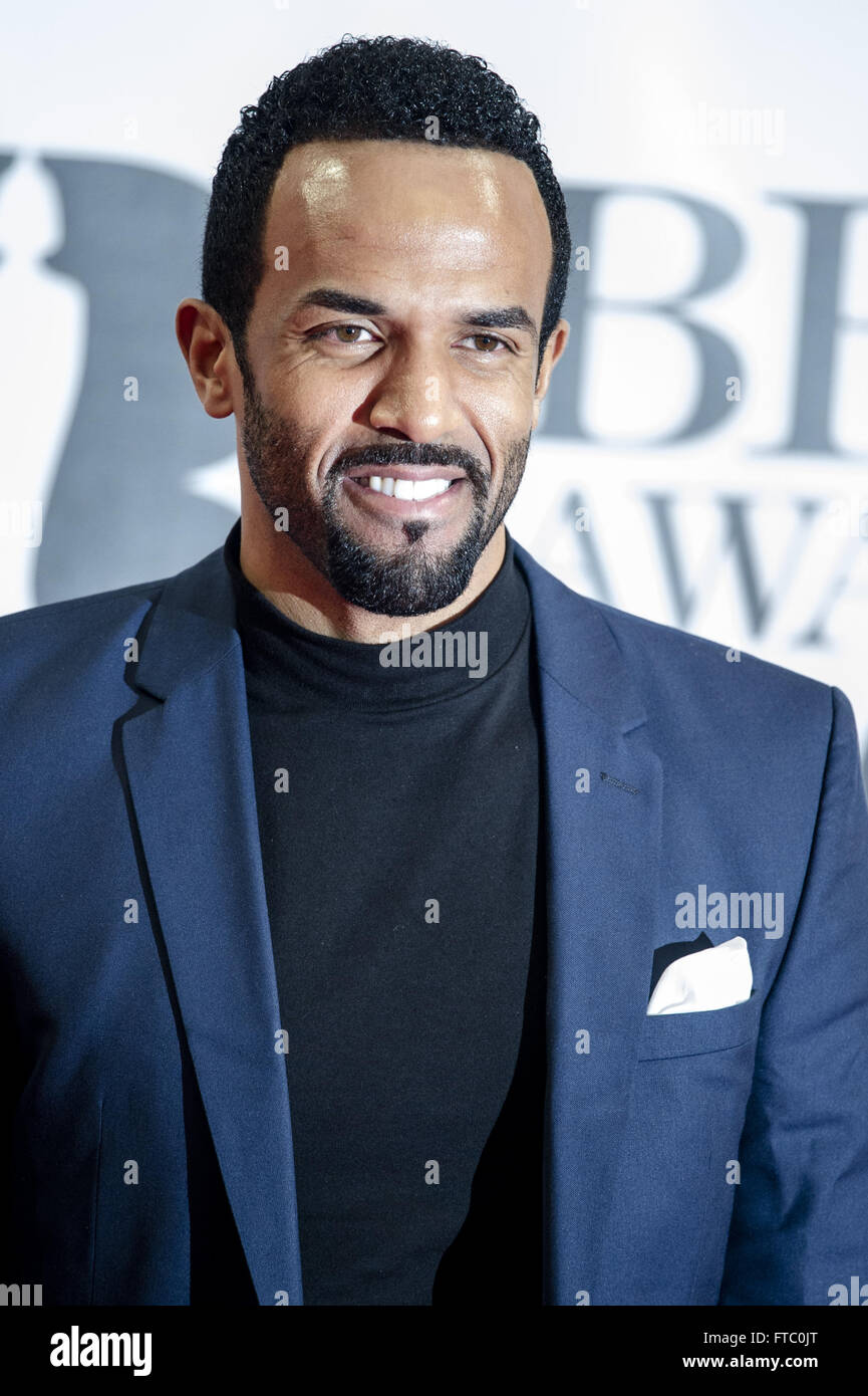 Berühmtheiten besucht den Brit Awards 2016 in der O2 Arena in London.  Mitwirkende: Craig David wo: London, Stockbild