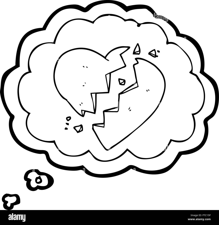 freihändig gezeichnete gedankenblase cartoongebrochenes
