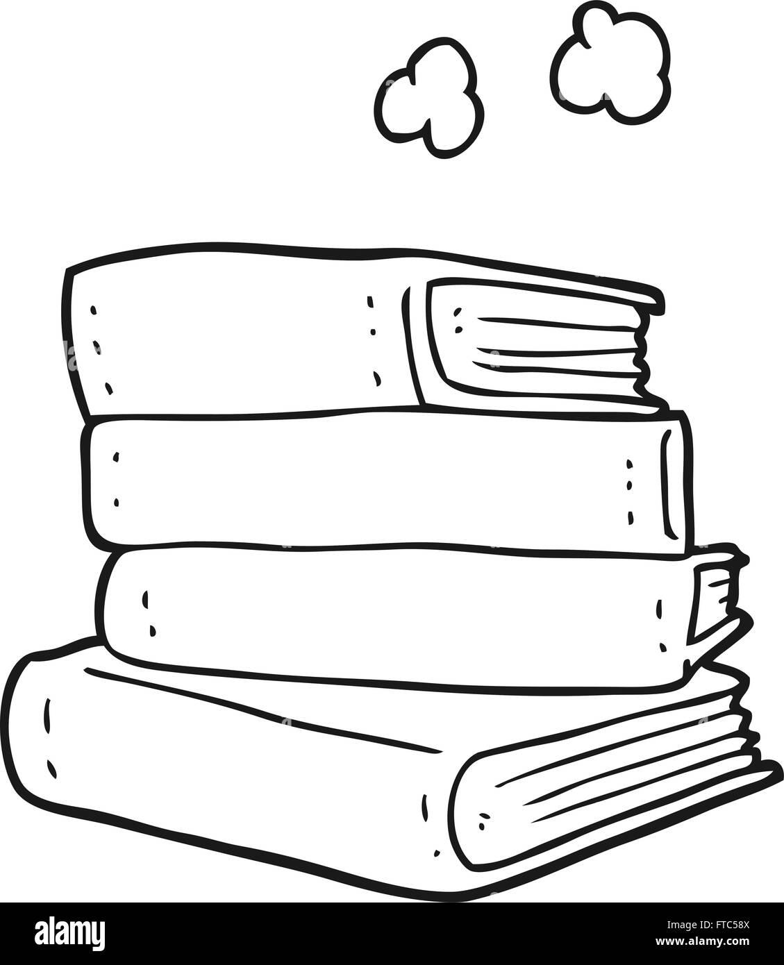 freihändig gezeichnet schwarz / weiß Cartoon Stapel Bücher Vektor ...