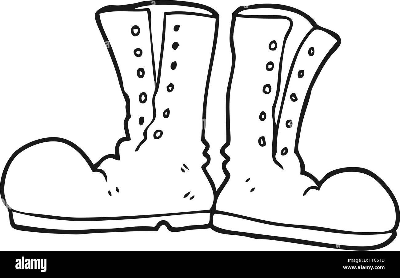 Schwarz weiss Cartoon Wandern Stiefel — Stockvektor