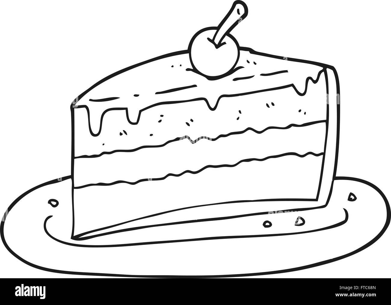 Freihandig Gezeichnet Schwarz Weiss Cartoon Stuck Kuchen Vektor