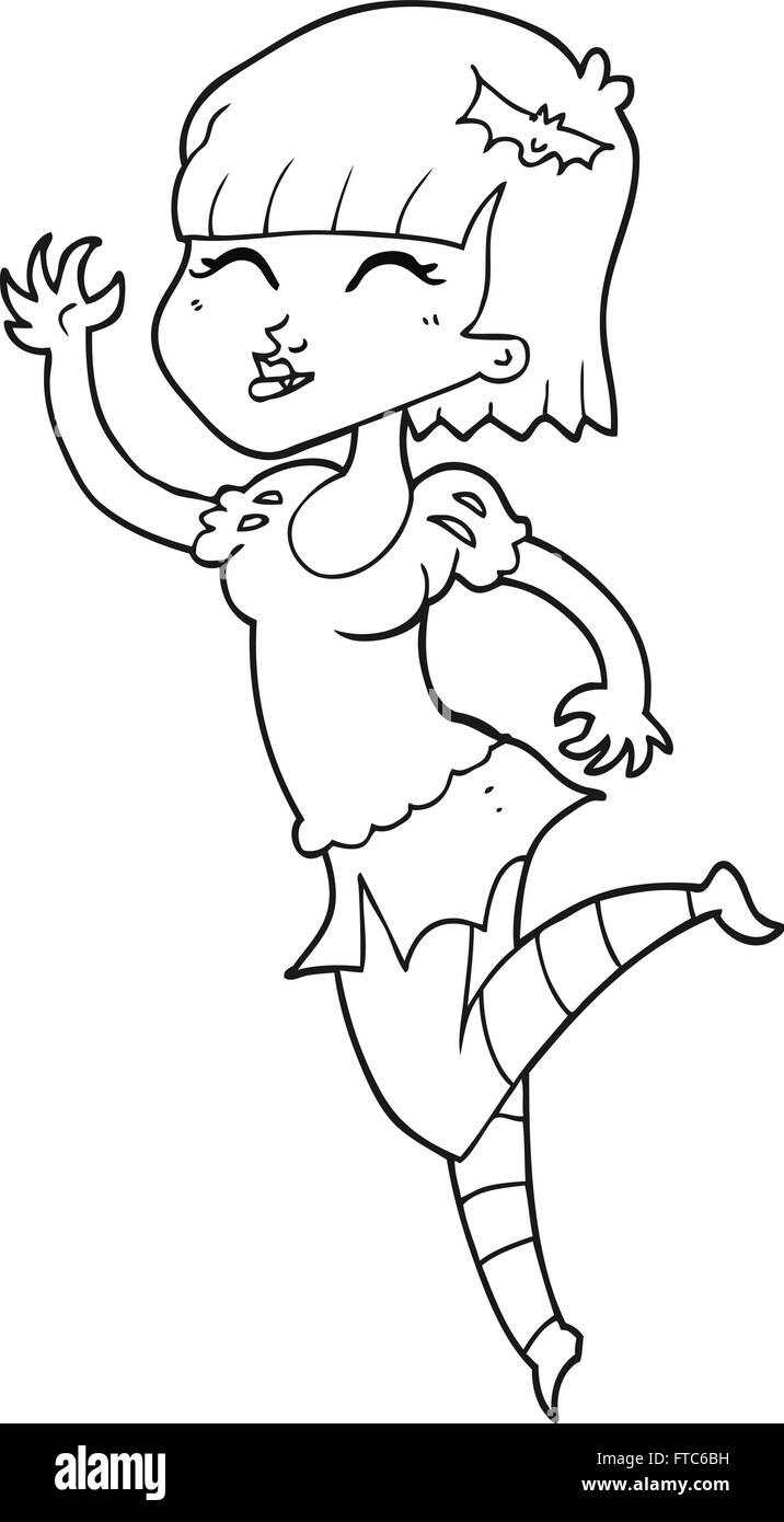 Freihandig Gezeichnet Schwarz Weiss Cartoon Vampir Madchen Vektor