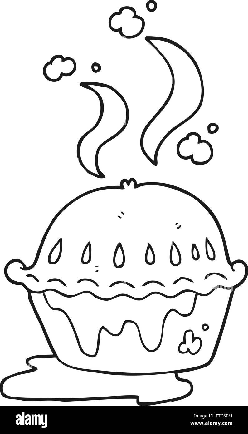 Freihandig Gezeichnet Schwarz Weiss Cartoon Heissen Kuchen Vektor