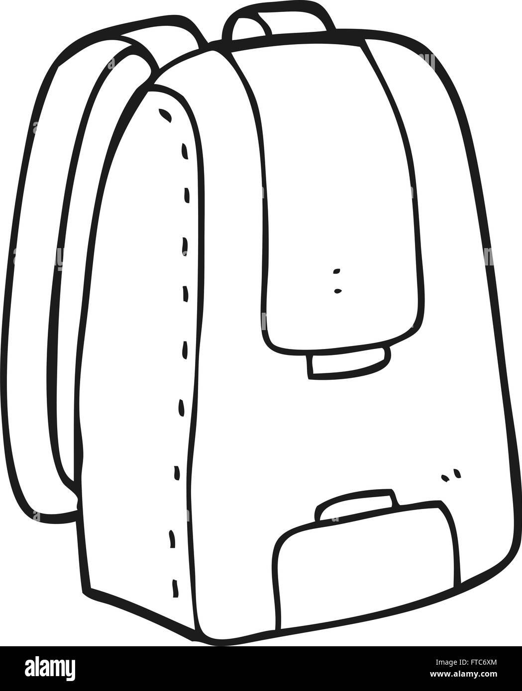 freihändig gezeichnet schwarz weiß Cartoon Tasche Vektor