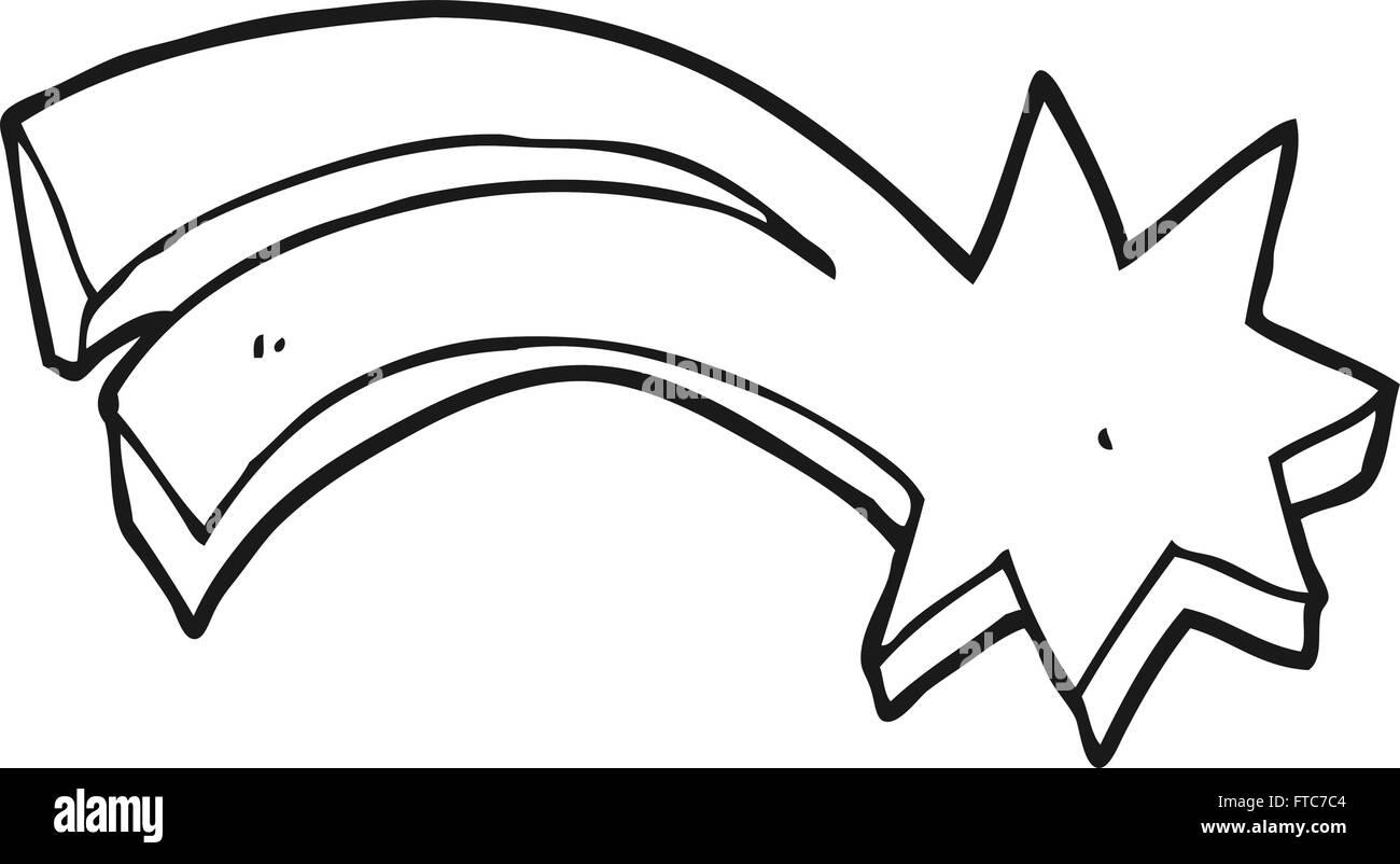 freihändig gezeichnet schwarz-weiß Cartoon dekorative Sternschnuppe ...