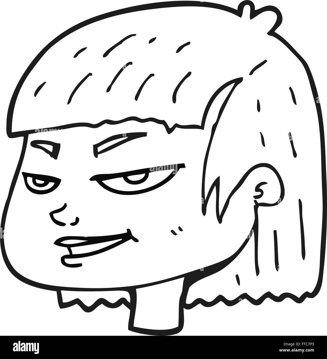 Freihandig Gezeichnete Schwarz Weiss Cartoon Bedeuten Aussehendes