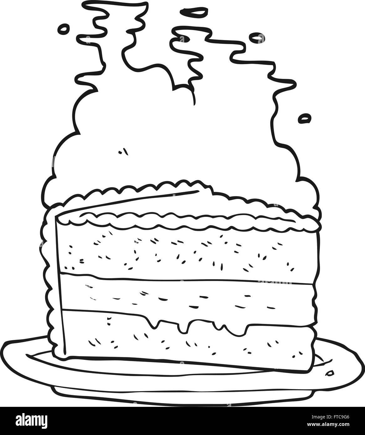 Freihandig Gezeichnet Schwarz Weiss Cartoon Kuchen Vektor Abbildung