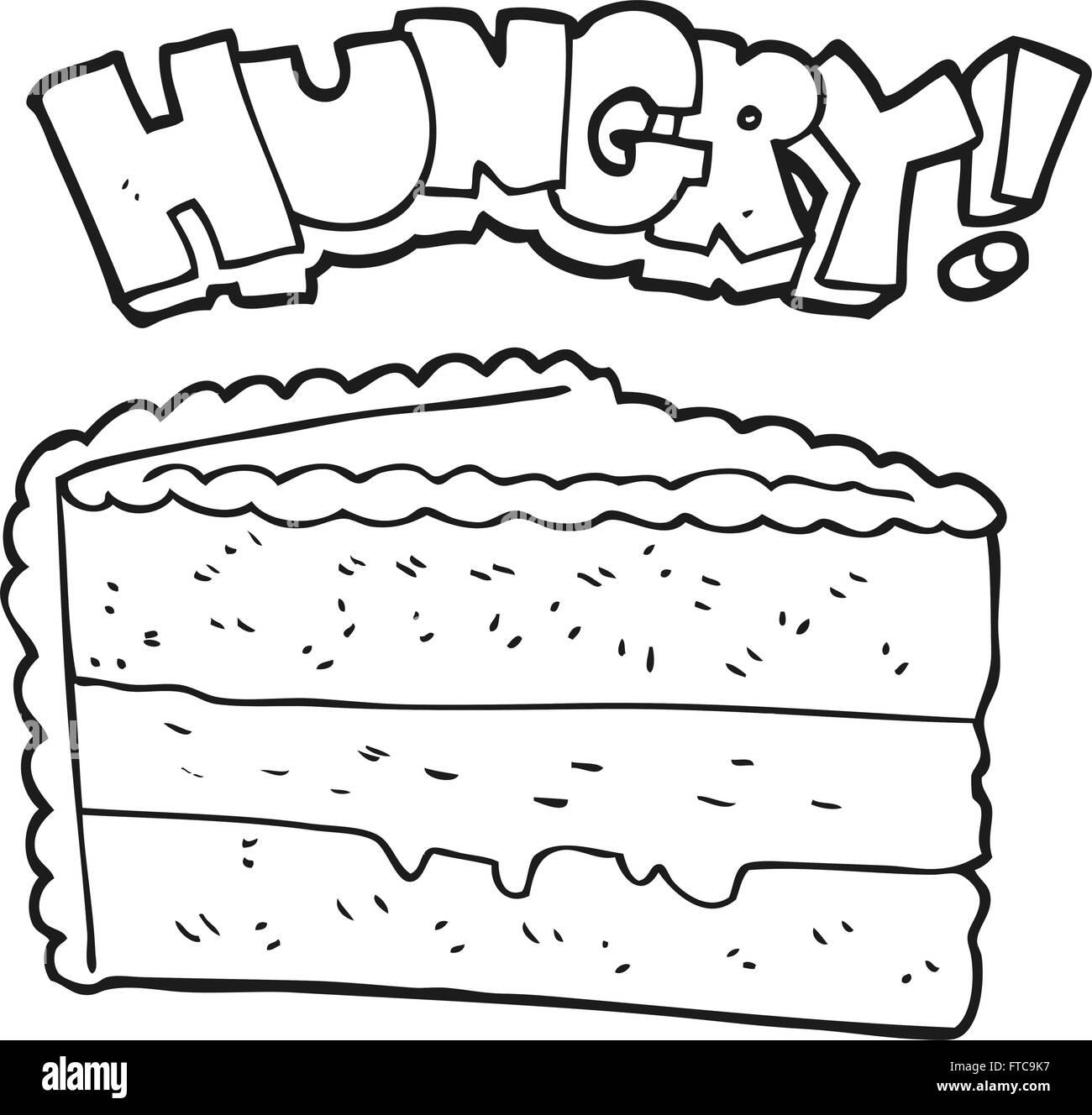 freihändig gezeichnet schwarz / weiß Cartoon-Kuchen Vektor Abbildung ...