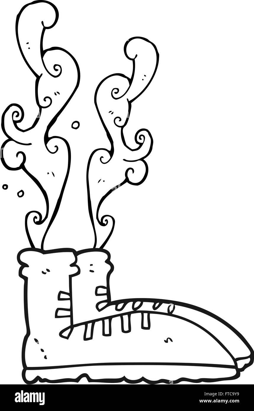 Freihändig Gezeichnet Schwarz Weiß Cartoon Stinkende Turnschuhe