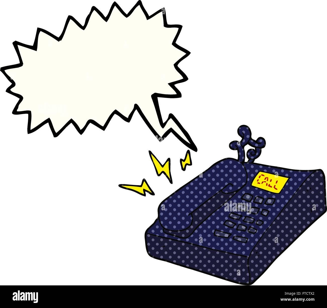 Freihandig Gezeichnet Comic Buch Rede Blase Cartoon Buro Telefon