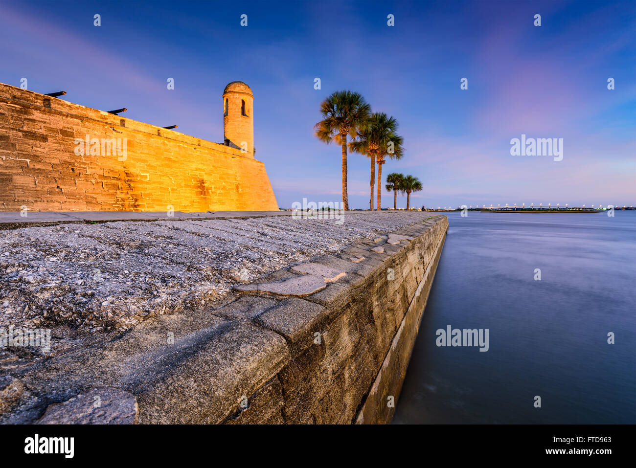 St. Augustine, Florida an das Castillo de San Marcos National Monument. Stockbild