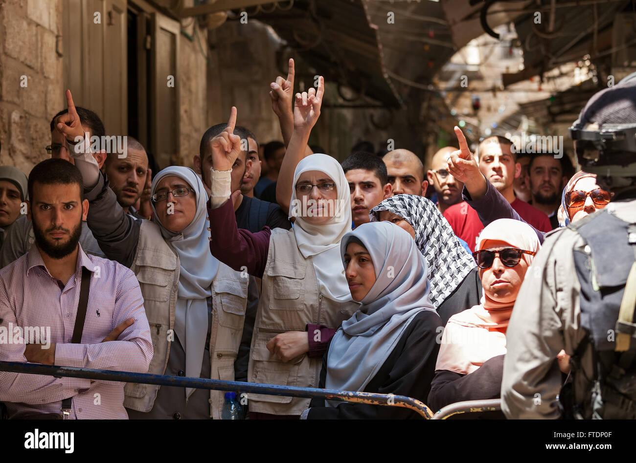 Palästinenser Protest in der Altstadt von Jerusalem gegen die Besteigung des religiösen Juden zum Tempelberg Stockbild