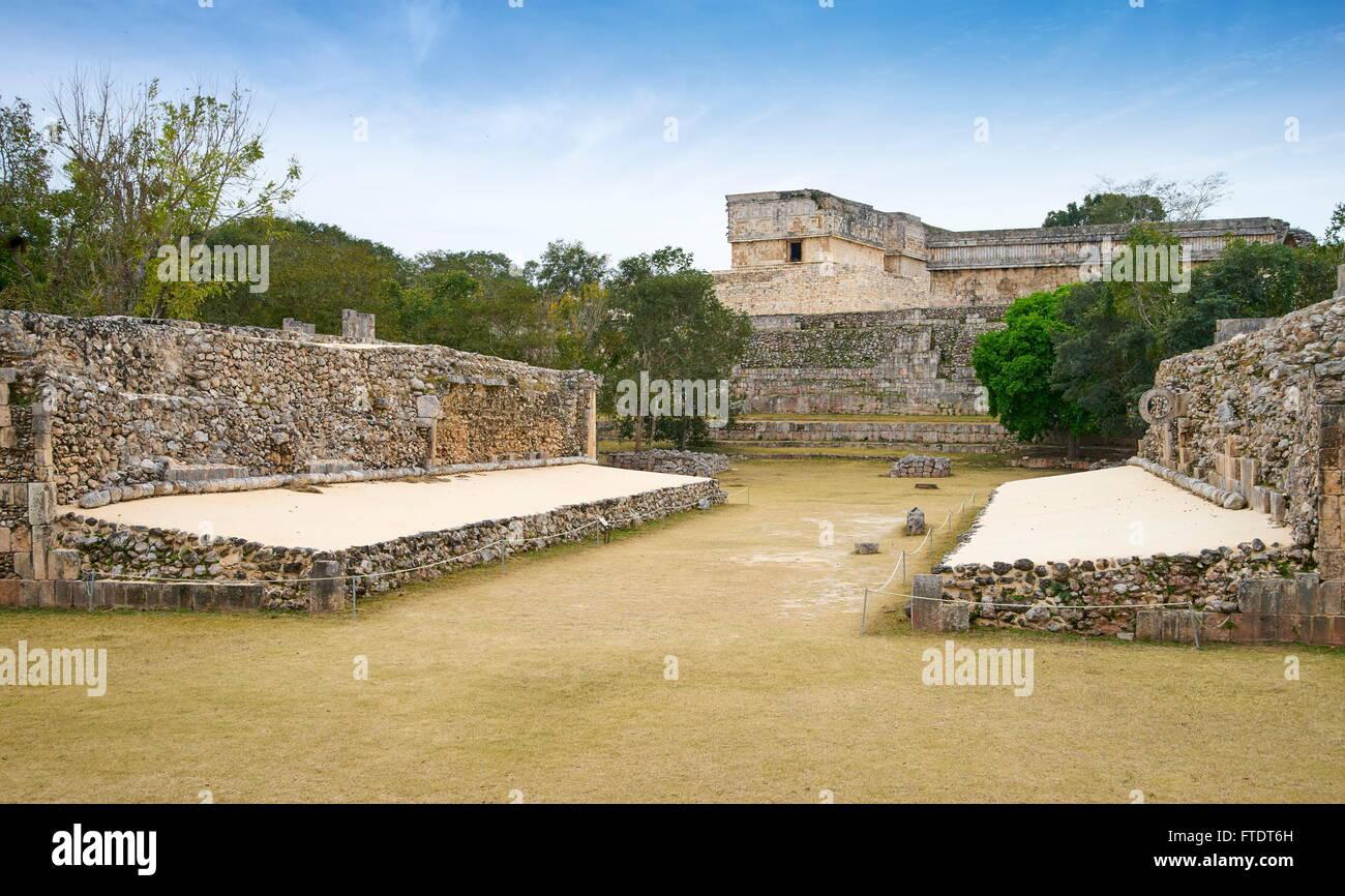 Ball Court, Uxmal Ausgrabungsstätte Uxmal, Yucatan, Mexiko Stockbild