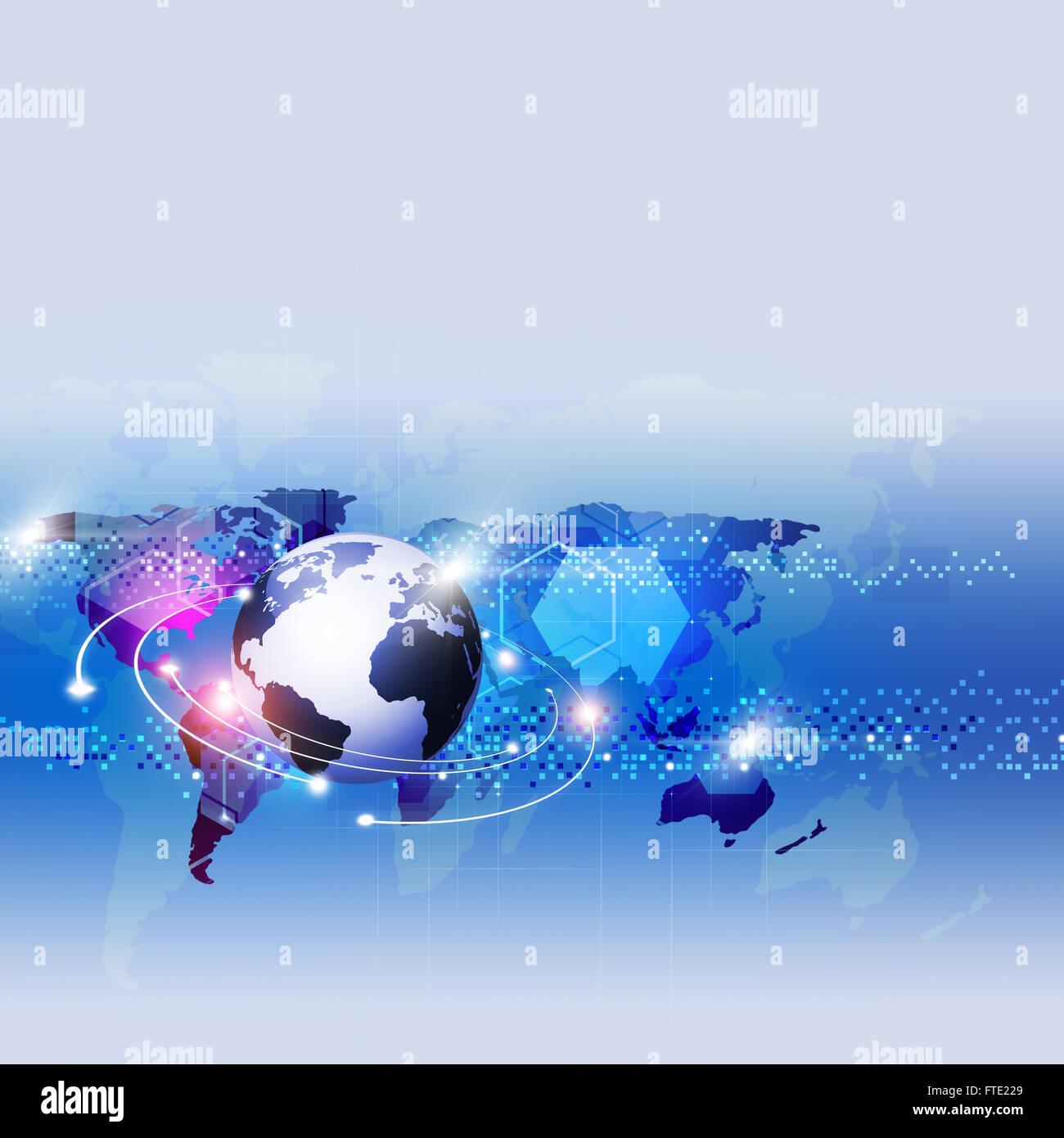 abstrakte mehrfarbiger Hintergrund mit verschwommenen Lichtern und Weltkarte Stockbild