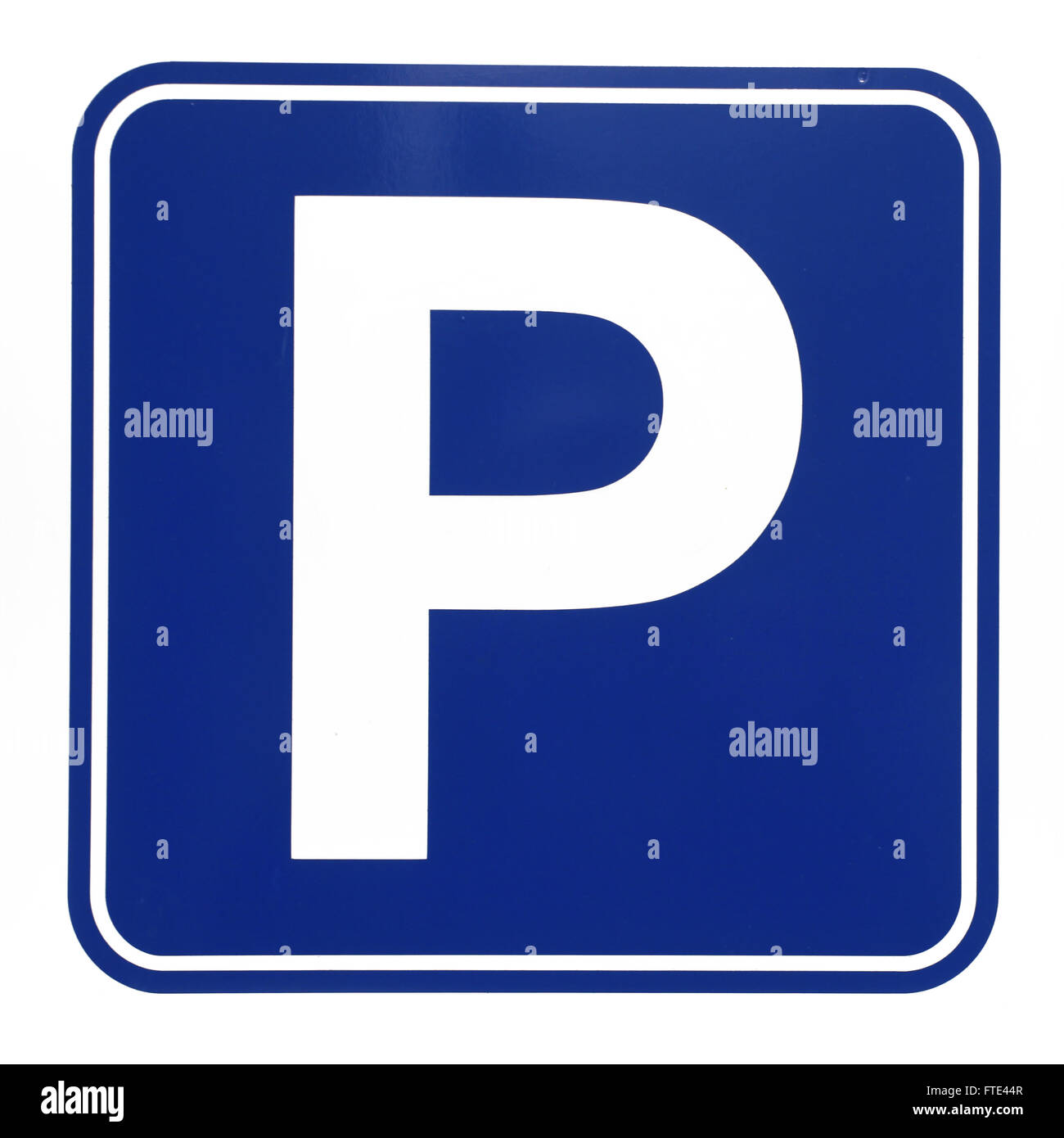 Parkplatz Schild Abbildung auf weißem Hintergrund Stockbild