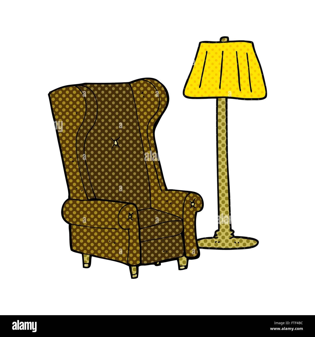 Freihand Gezeichnet Comic Buch Stil Cartoon Lampe Und Stuhl