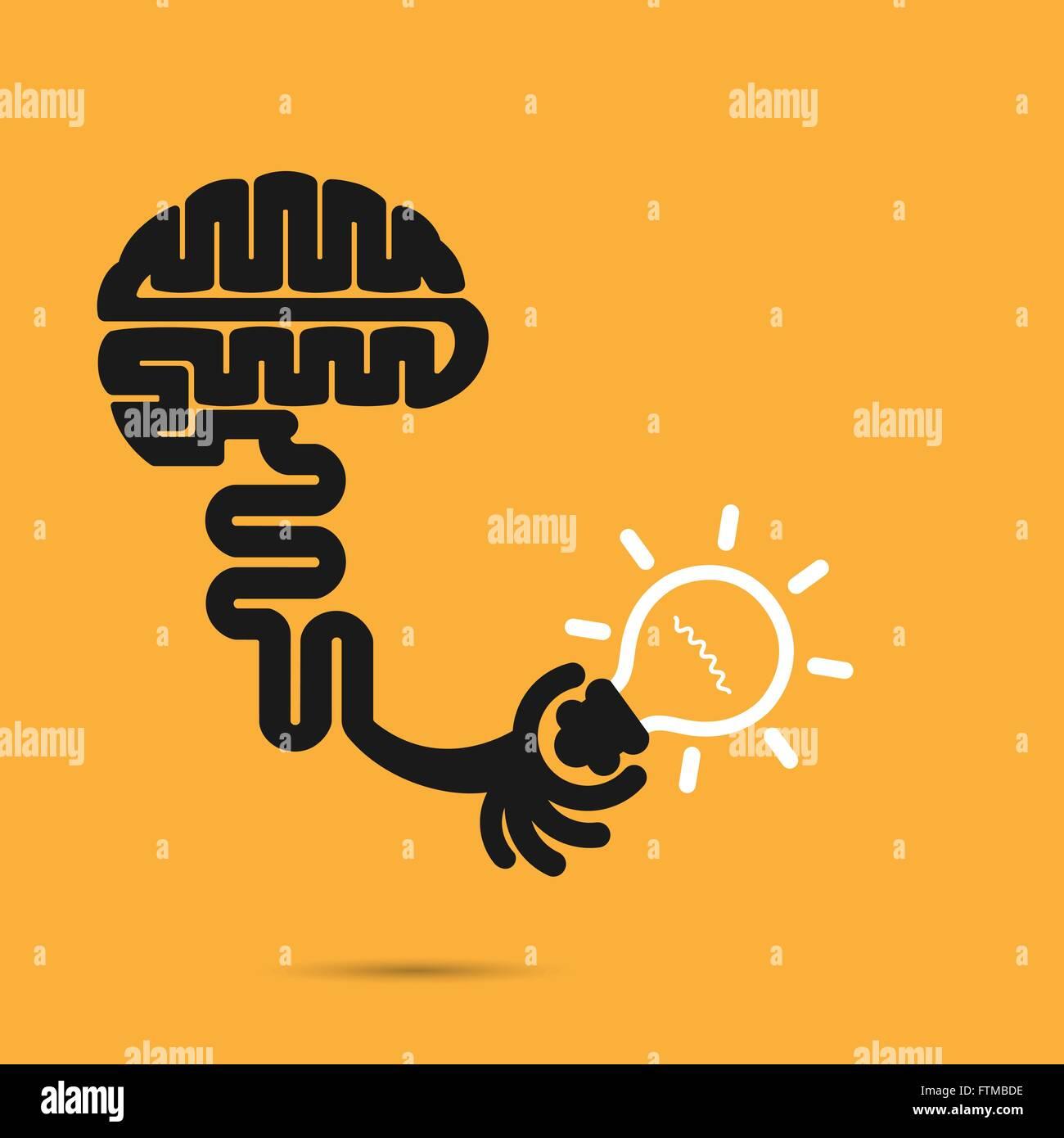 Gehirn-Symbol und Glühbirne Symbol. Kreativkonzept für Brainstorming ...