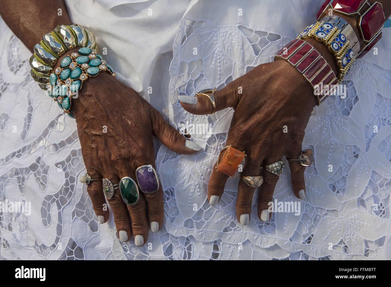 Detail der Hände von Bahia an der fest unser Herr Bonfim Stockbild