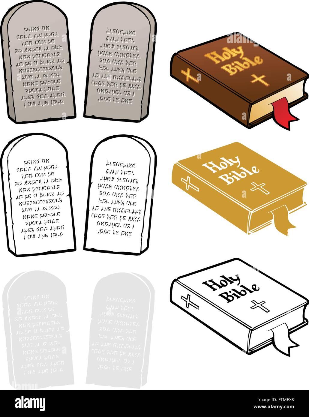 Die zehn Gebote, und eine Bibel. In voller Farbe, schwarzer ...