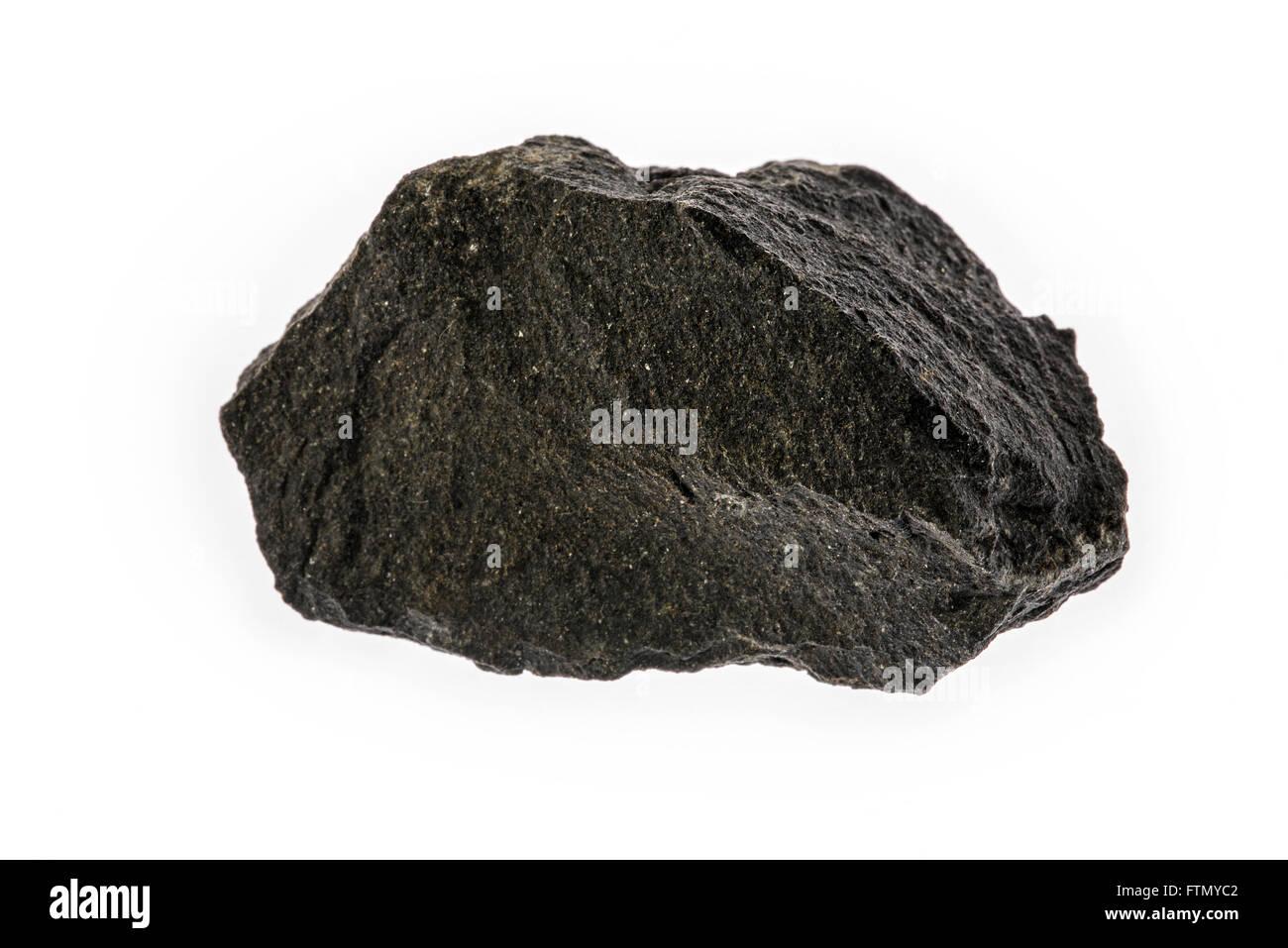 Basalt, extrusive Eruptivgestein vulkanischen Muster auf weißem Hintergrund Stockbild