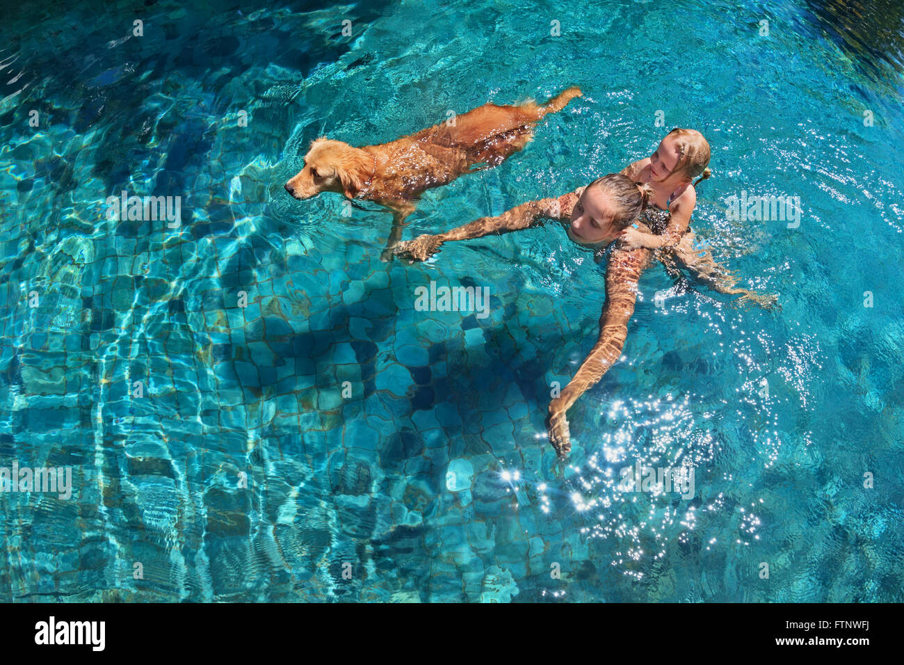 Mutter mit Kind auf Rücken spielen mit Spaß und Zug golden Labrador Retriever Welpen im Schwimmbad. Stockfoto