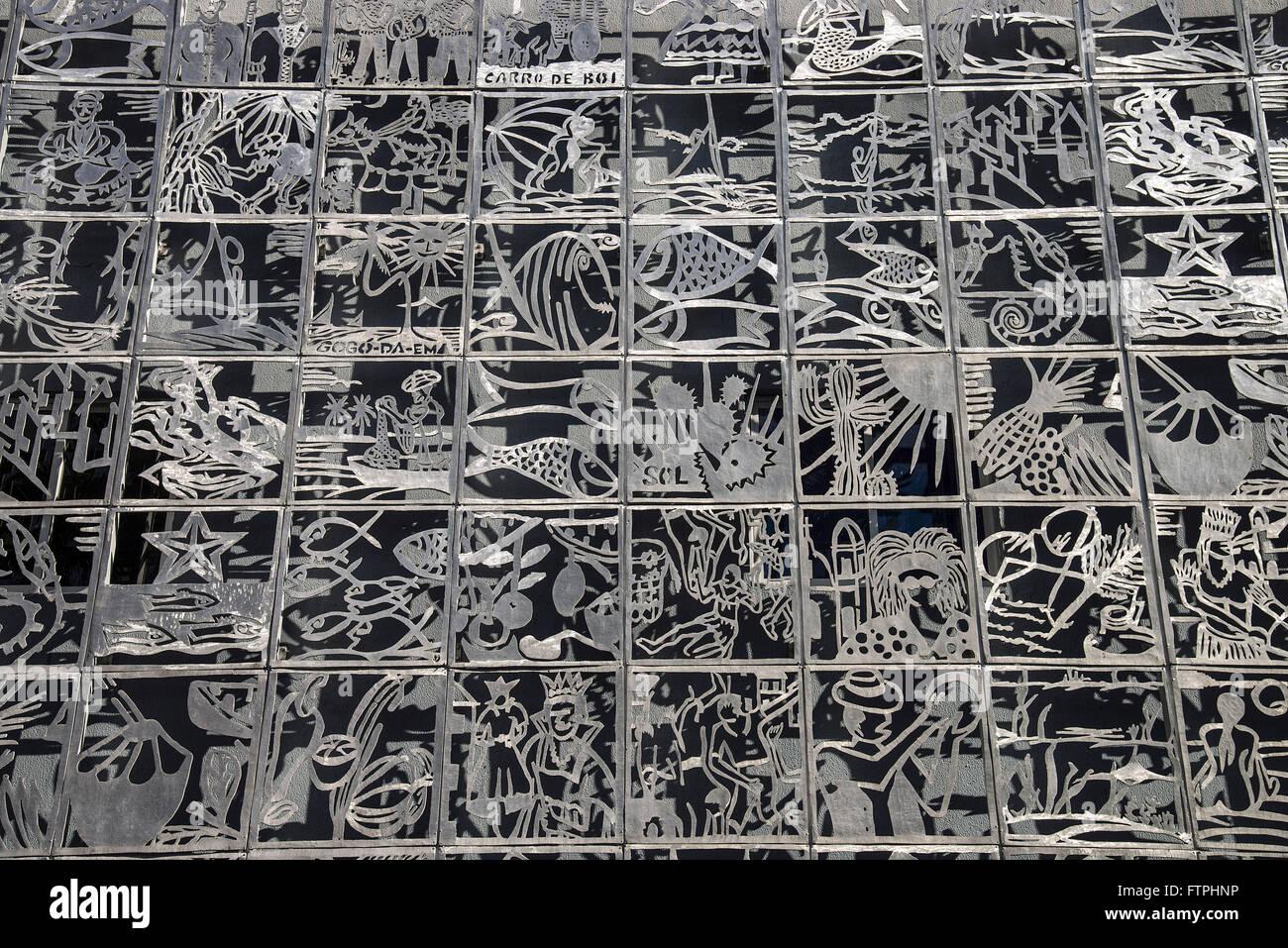 Panel-Detail mit repräsentativen Bildern der Populärkultur Alagoas Stockbild