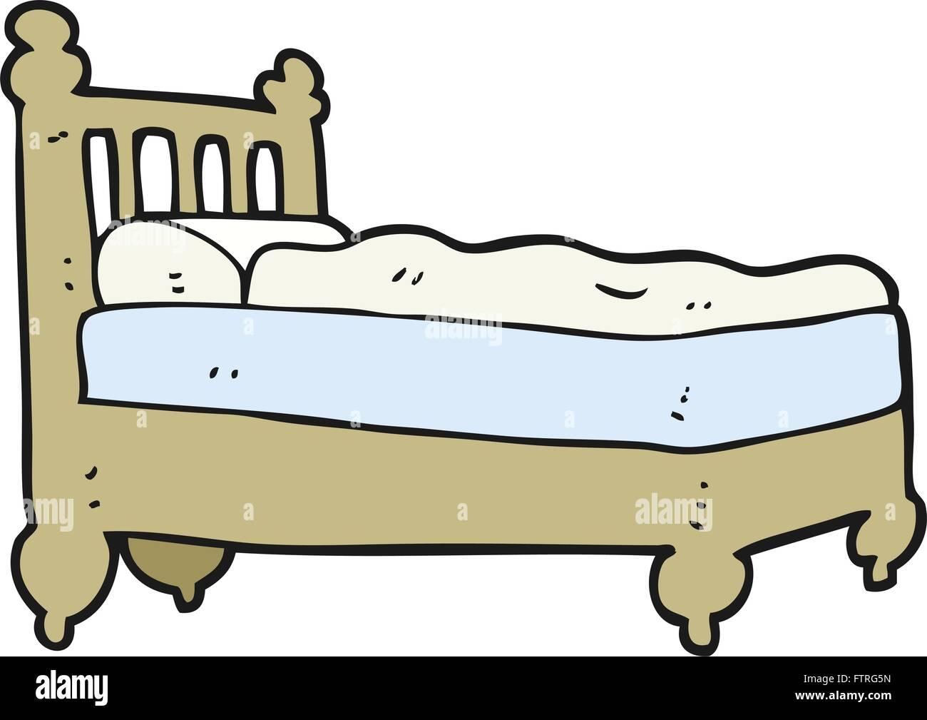 Freihandig Gezeichnete Cartoon Bett Vektor Abbildung Bild