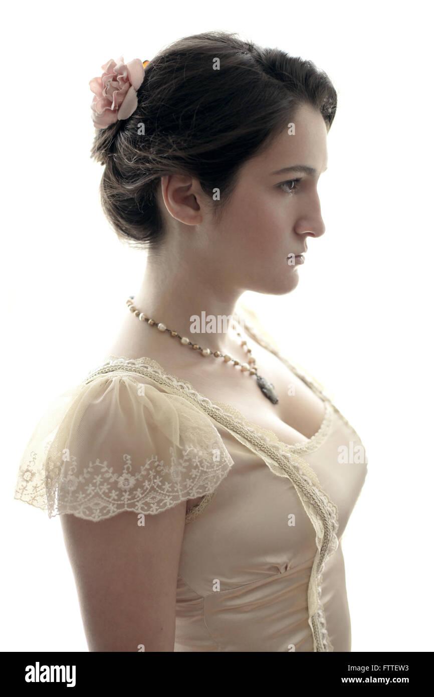 Historische Brünette Mädchen Stockbild