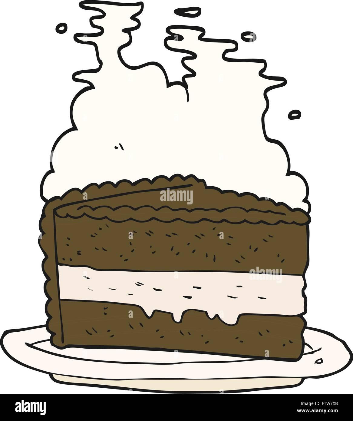 Freihandig Gezeichnete Cartoon Kuchen Vektor Abbildung Bild