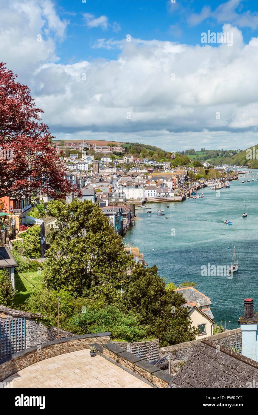 Anzeigen an der Dartmouth am Fluss Dart, Devon, England, UK   Aussicht in Dartmouth, Fluss Dart, Devon, England Stockbild