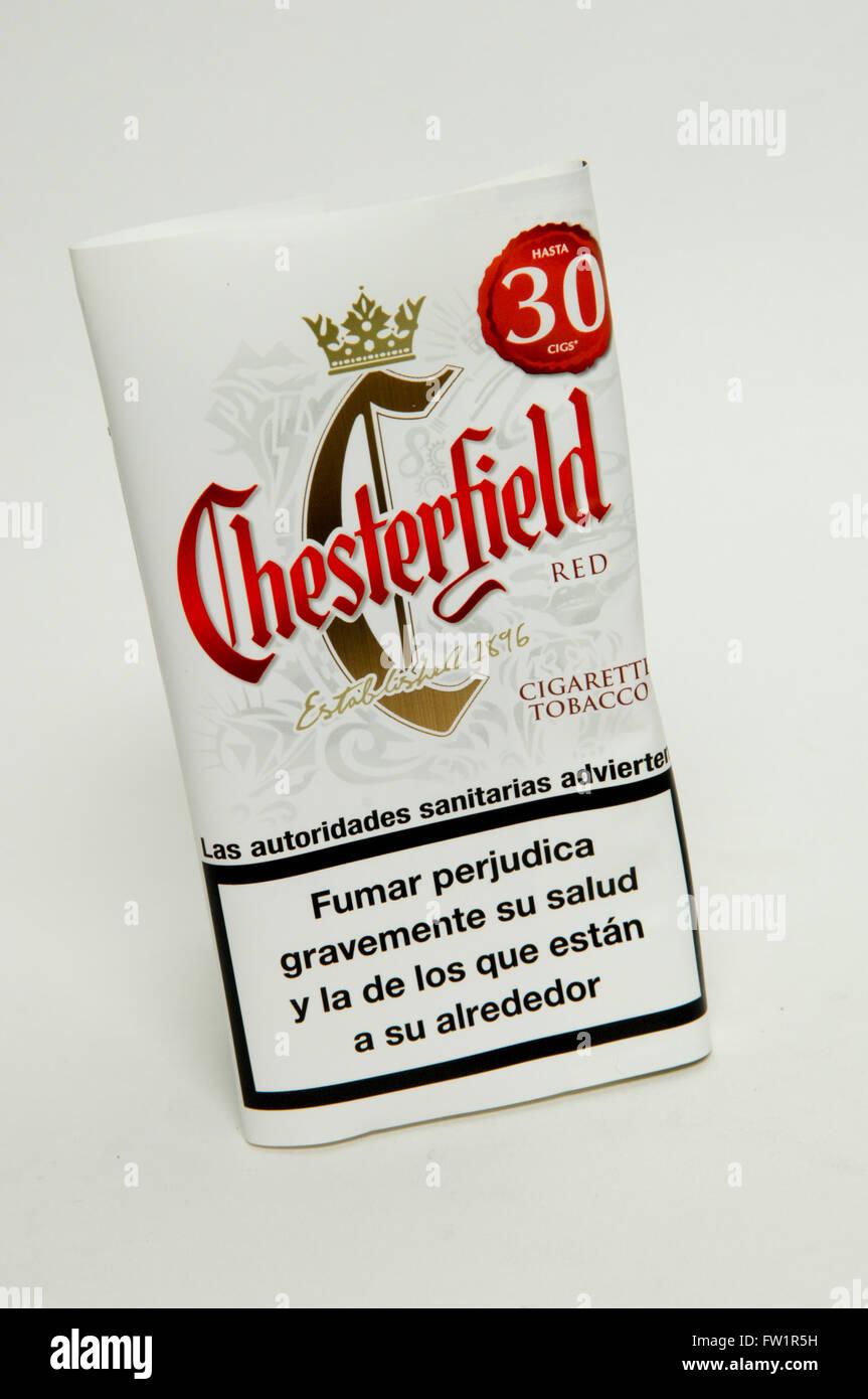 Chesterfield Red Hand Rollen Tabak Stockfoto Bild 101458381 Alamy