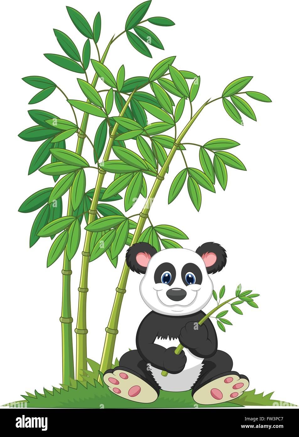 Cartoon Panda Sitzen Und Essen Bambus Vektor Abbildung Bild