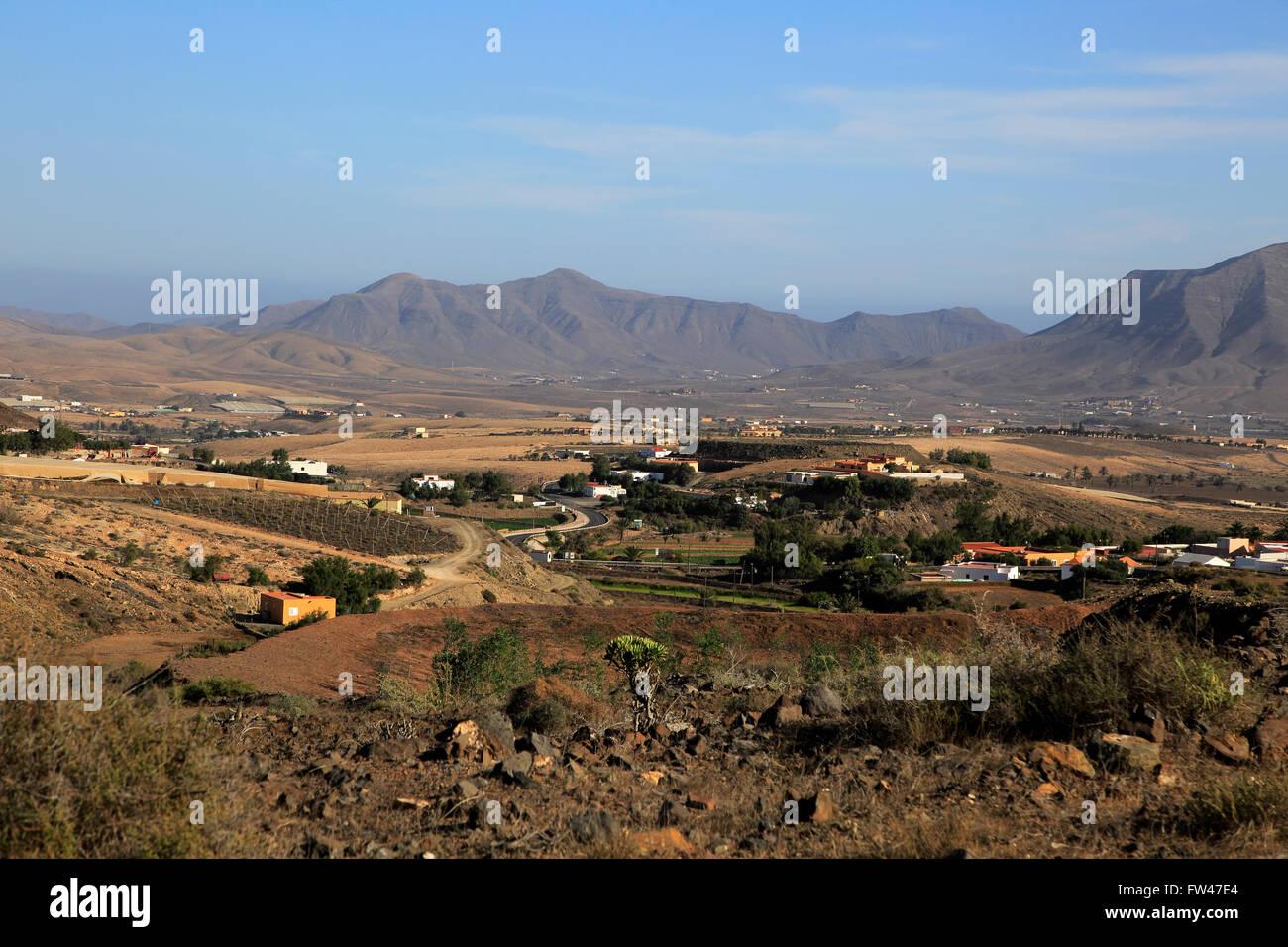 Überblick über Dorf und Landschaft, Cardon, Fuerteventura, Kanarische Inseln, Spanien Stockbild