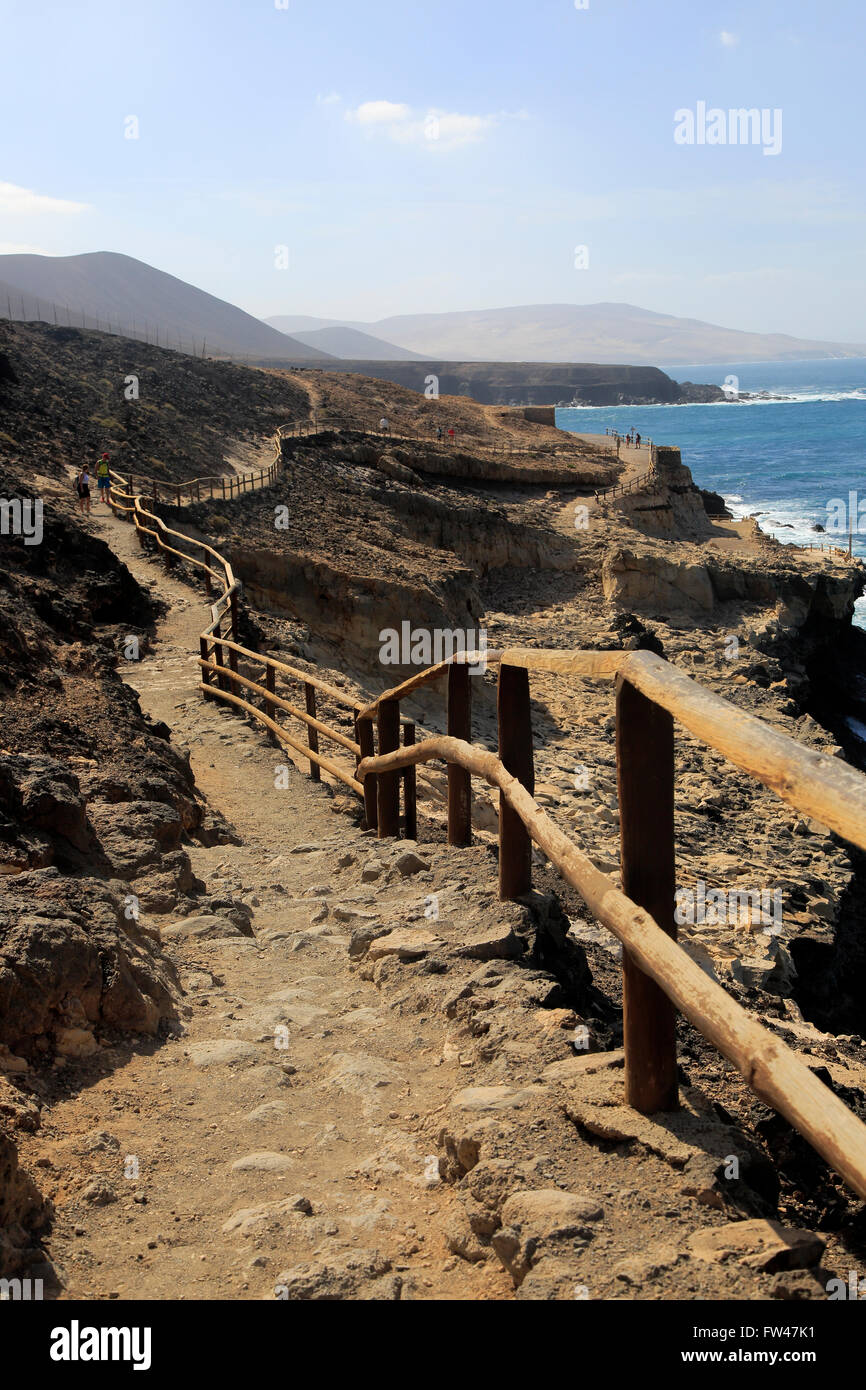 Klippe Fußweg in Ajuy, Fuerteventura, Kanarische Inseln, Spanien Stockbild