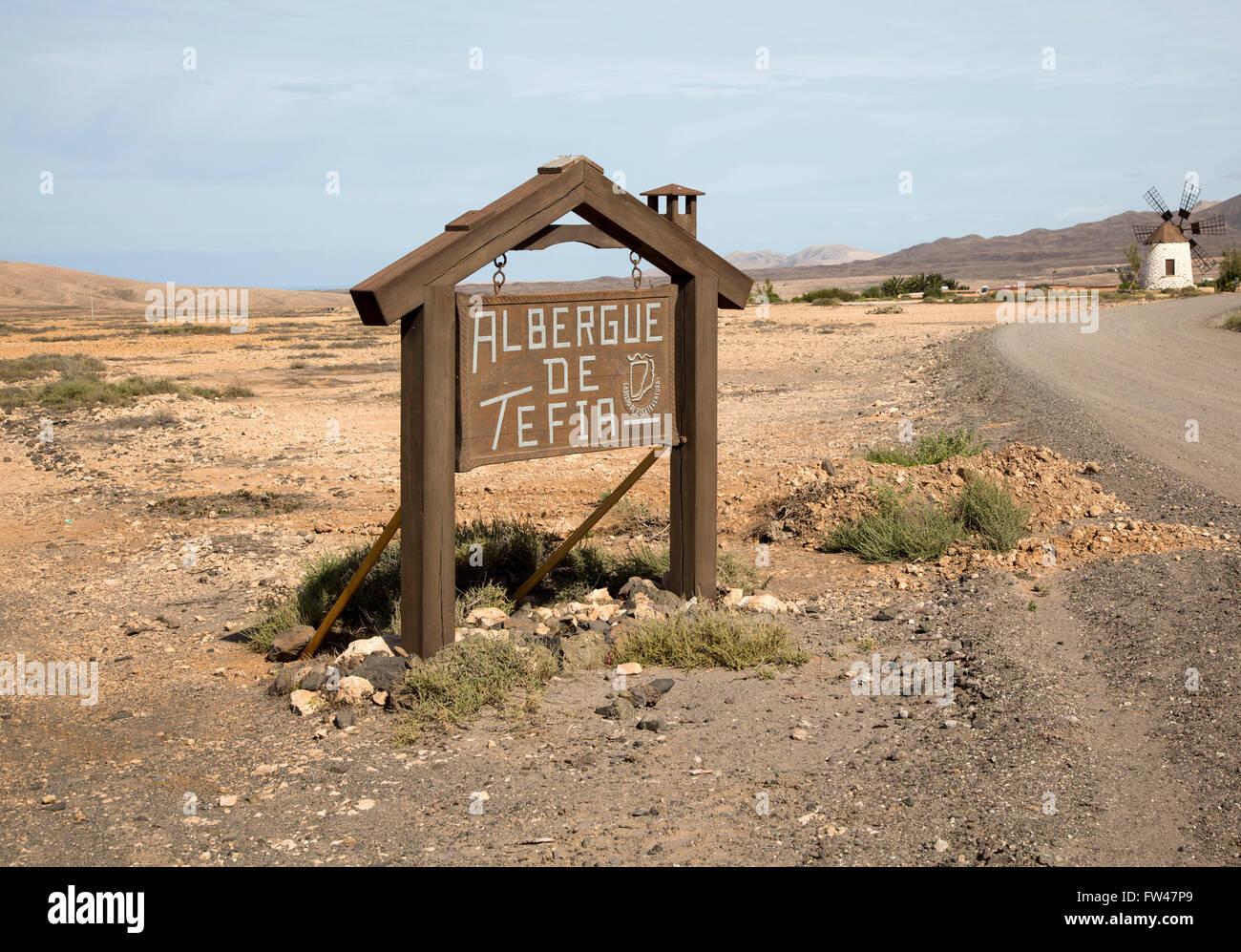Melden Sie für Albergue de Tefia, Fuerteventura, Kanarische Inseln, Spanien Stockbild