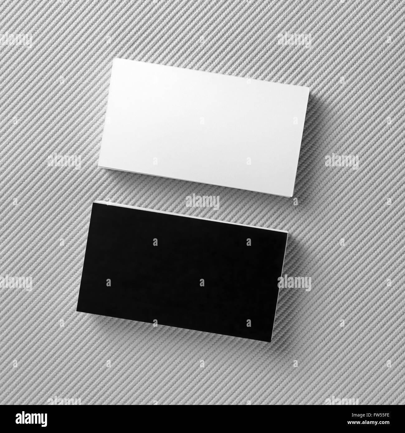 Leere Visitenkarten Schwarz Weiß Auf Grauem Hintergrund