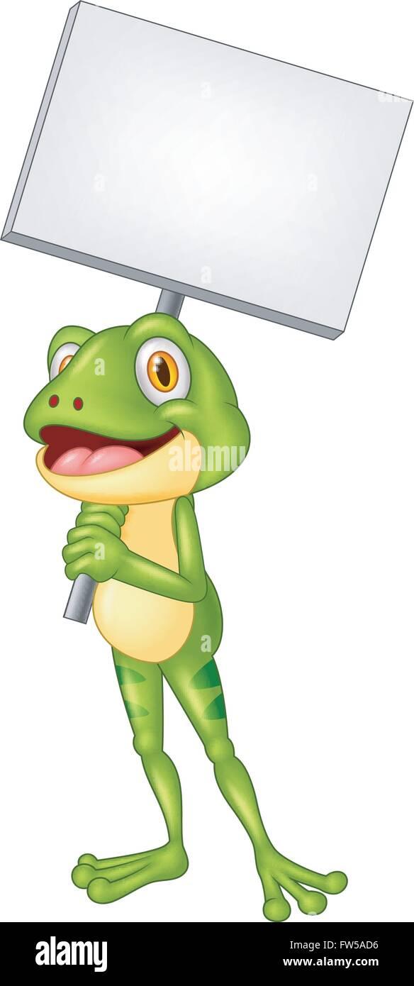 Cartoon liebenswert Frosch mit leere Schild Vektor Abbildung - Bild ...