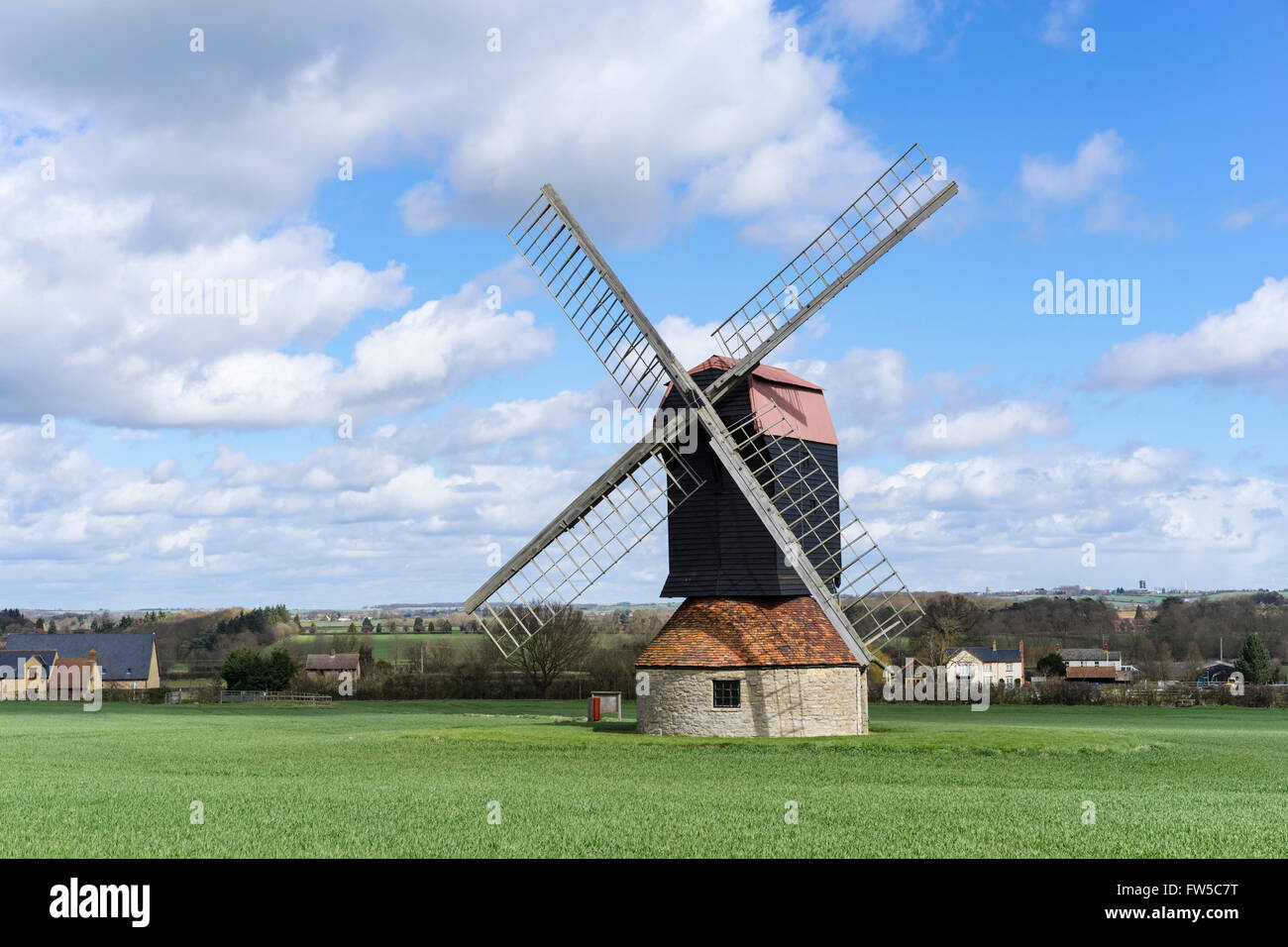 18. Jahrhundert post Windmühle am Stevington, Bedfordshire, UK Stockfoto