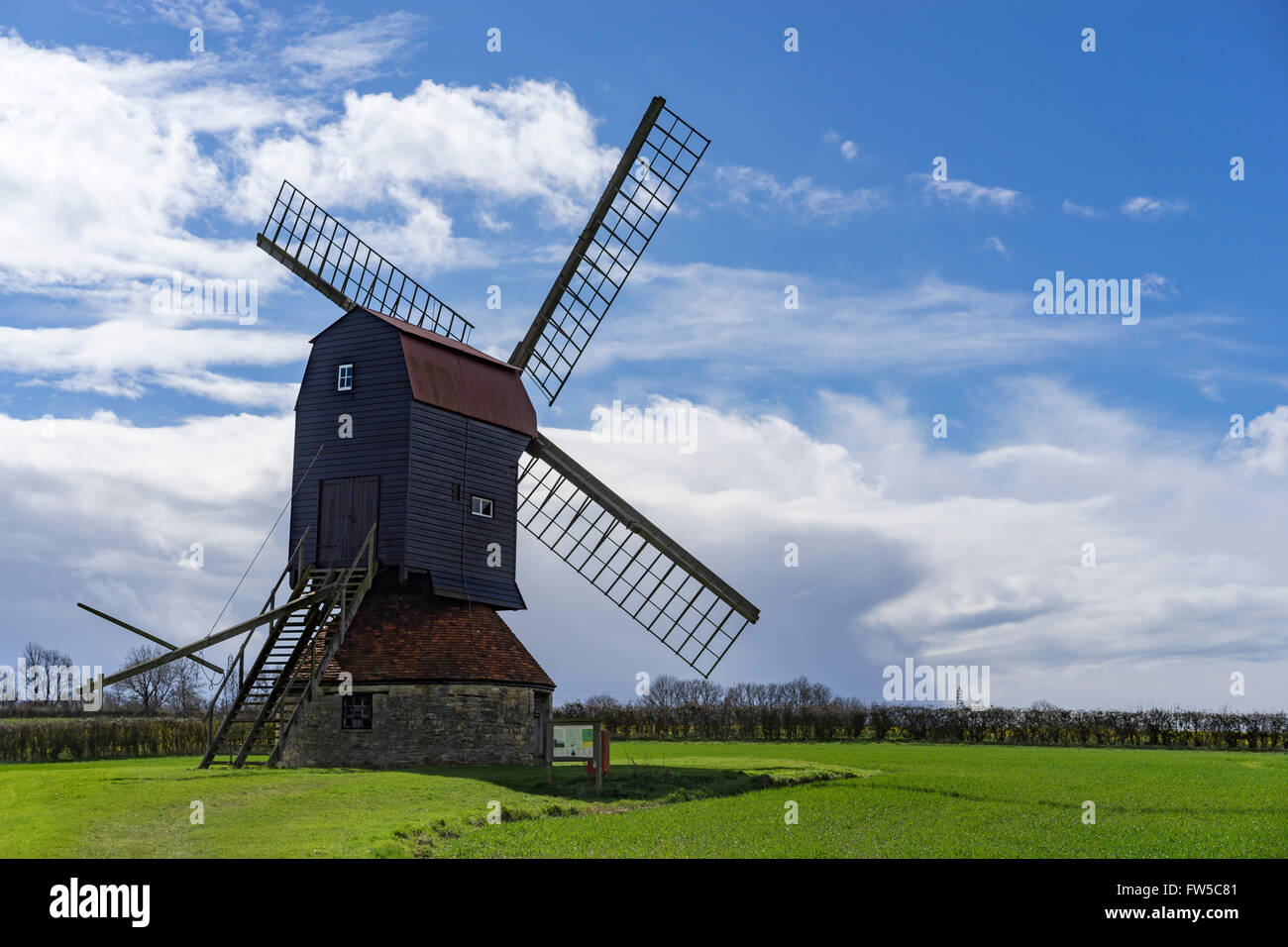 18. Jahrhundert post Windmühle am Stevington, Bedfordshire, UK Stockfoto
