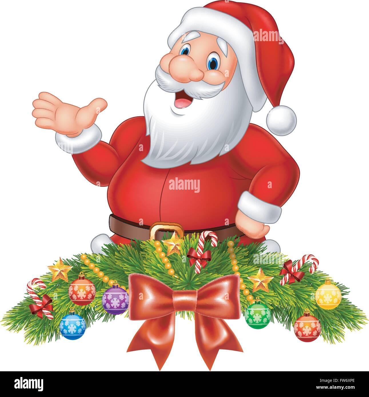 Cartoon-lustige Weihnachtsmann winkenden Hand mit ...