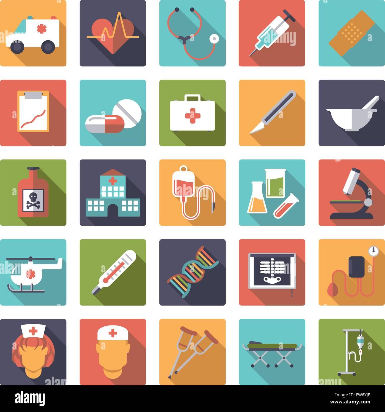 Flaches Design lange Schatten Medizin- und Gesundheitswesen Verwandte Symbole in abgerundeten Quadraten Stockbild