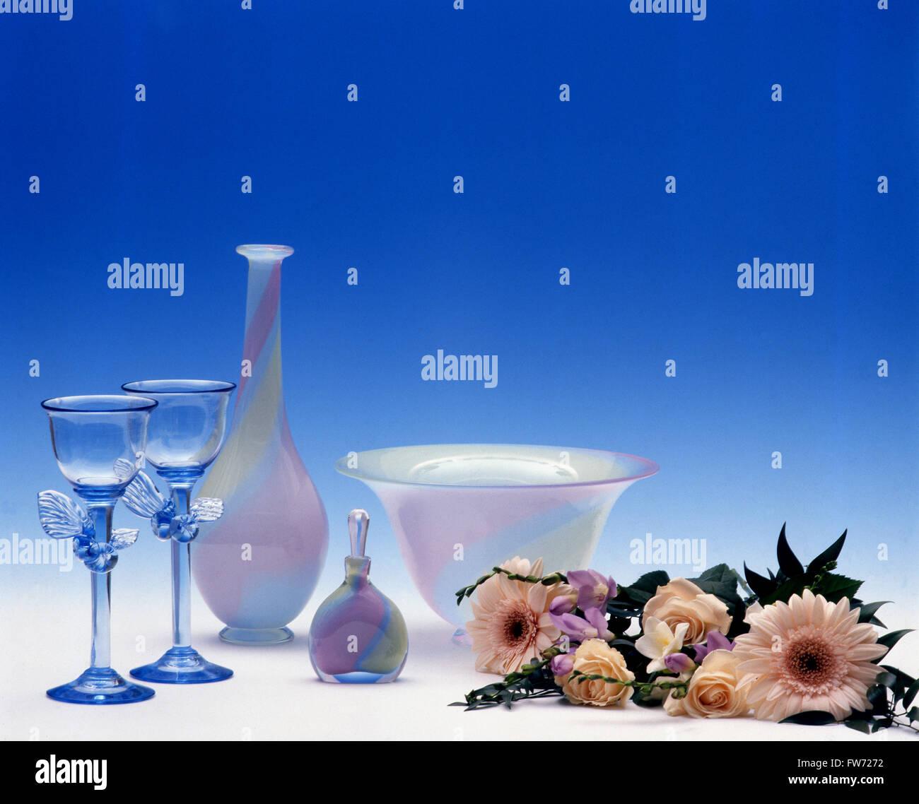 Glaskunst aus schwedischen Glashütten Stockbild