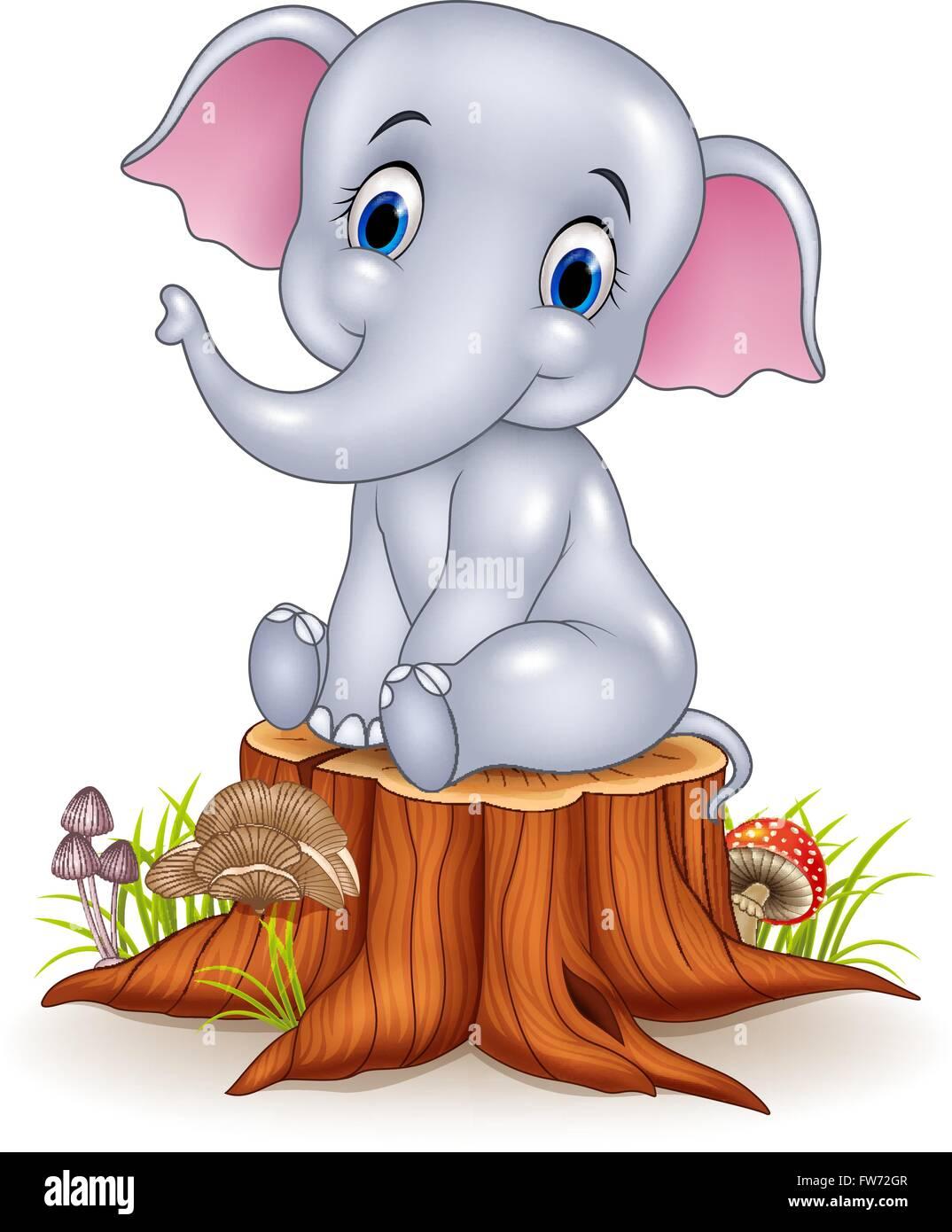 cartoon lustige baby elefant sitzt auf baumstumpf vektor abbildung bild 101573943 alamy. Black Bedroom Furniture Sets. Home Design Ideas