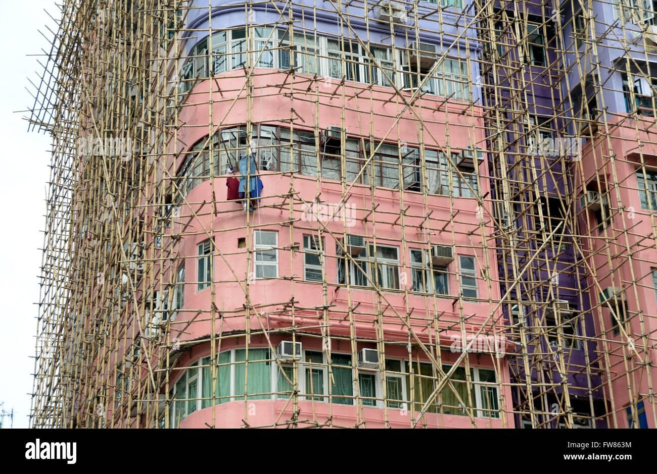 Ein Gebäude Mit Bambus Gerüst In Kowloon Hongkong Da Bambus Viel