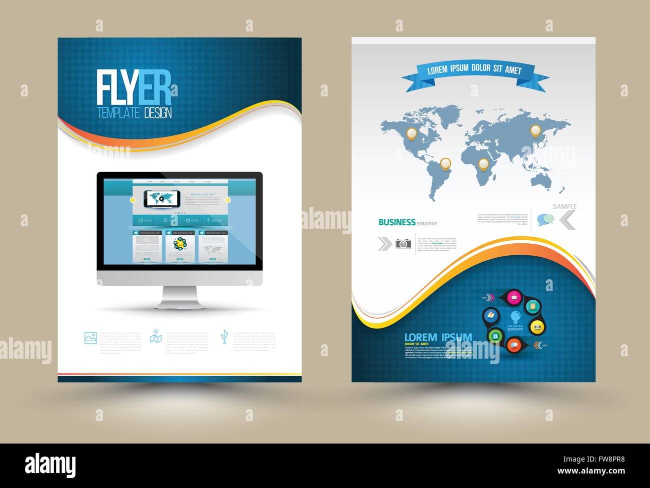 Vektor-Plakat-Vorlagen mit Website auf Computer. Vorlage für ...