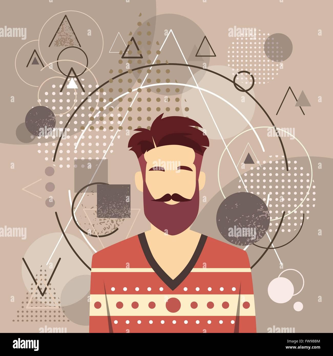 Profil Symbol Mannlichen Avatar Mann Hipster Stil Fashion Guy Bart