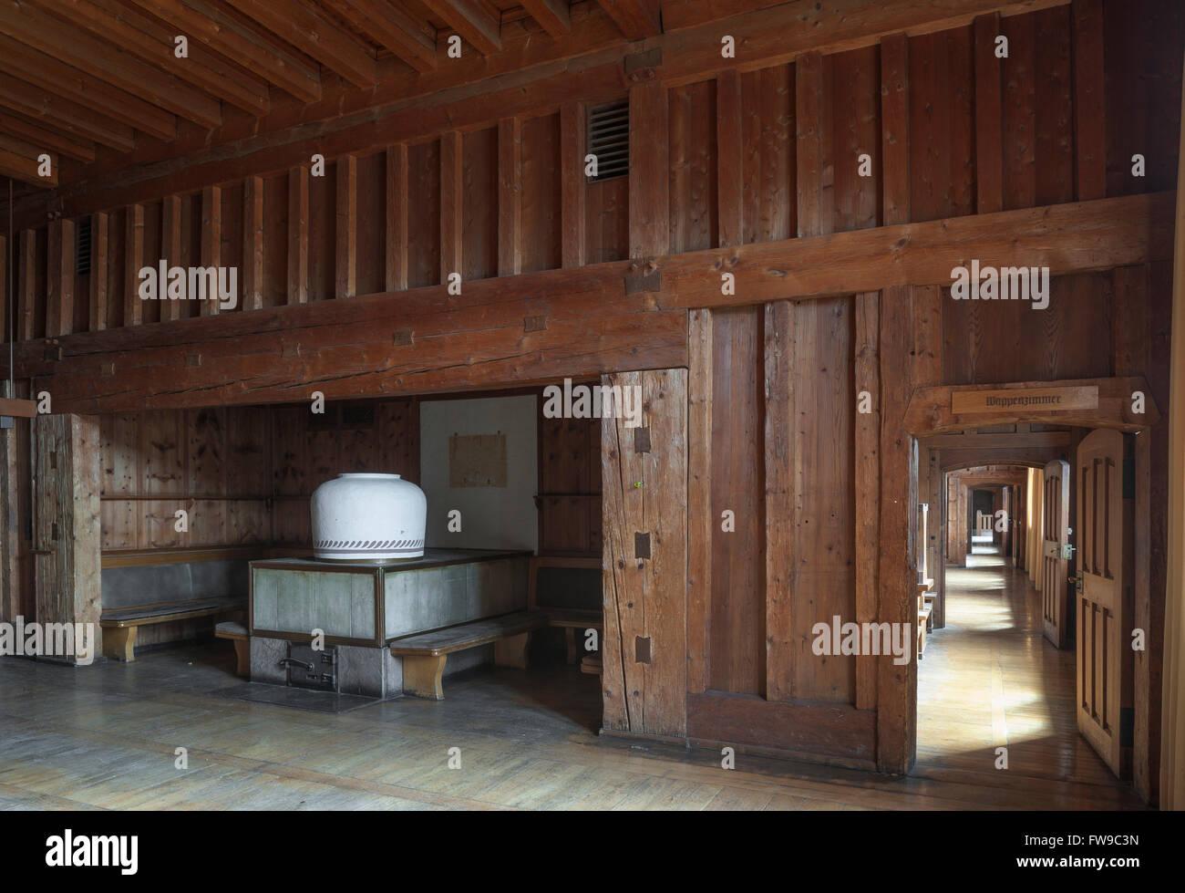 NSDAP-Ordensburg Sonthofen, NS-Architektur Heimatschutzstil, Indoors, 1935-45 Adolf Hitler Bildungszentrum für Stockbild