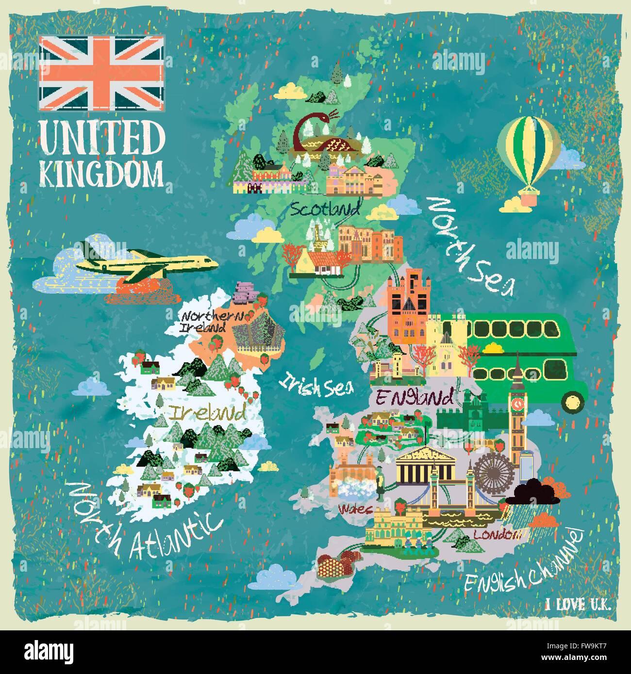 Sehenswürdigkeiten Großbritannien Karte.Attraktive Großbritannien Reise Karte Mit Sehenswürdigkeiten Vektor