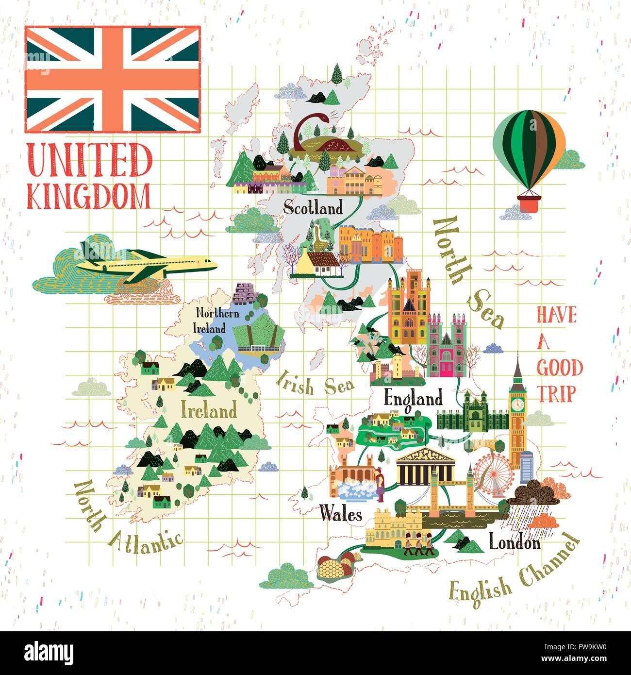 Sehenswürdigkeiten Großbritannien Karte.Schöne Großbritannien Reise Karte Mit Sehenswürdigkeiten Vektor